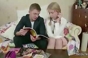 Step-brother Tempt Diminutive Step-Sister to Plumb after Homework