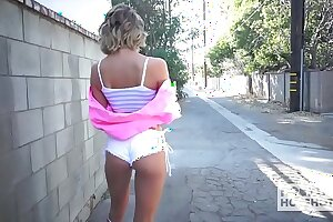 Pretty small platinum-blonde Emma Hix gets romped into a mud by meeting