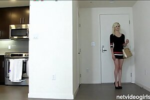 Tall long legged ash-blonde unexperienced earns fukcheck