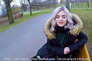 Uber-cute teenager drinks super hot spunk for cash - extreme public suck off by Eva Elfie
