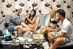 Stepsisters Foursome Teenage Orgy after Joy Table Game
