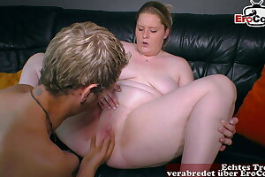 REAL GERMAN Duo PRIVATE - chubby girlfriend first time