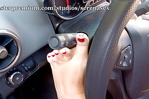 Feet tease in car