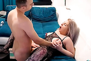 Real Plump Curvy Form Blonde Nubile in Fishnet Wants Sex