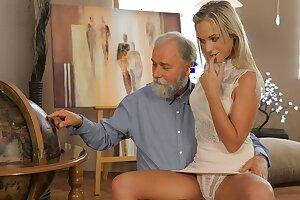 OLD4K. Shanie has a crush on her grey-bearded geography teacher