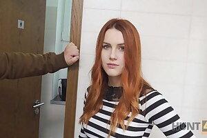 VIP4K. Hunter fucks gorgeous redhead in a public restroom