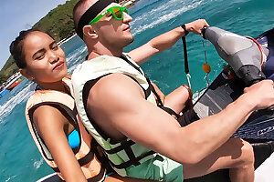 Jetski blow-job in public with his real Japanese teen gf